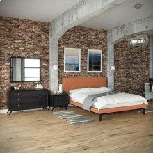 Bethany 4 Piece Queen Bedroom Set in Black Orange