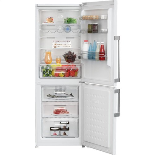 "24"" 10.3 cuft bottom freezer fridge with full frost free, white"