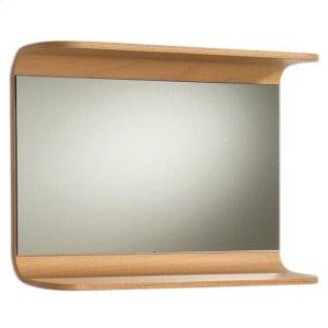 Aeri rectangular wall mount mirror with integral wood shelf. Product Image