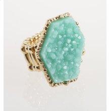 BTQ Teal Stone Gold Ring