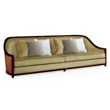 """110"""" Sofa in Sonokelling & Rattan, Upholstered in Velvet Lime"""