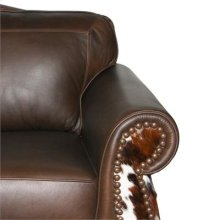 Mushroom Leather /Cowhide Glider-Swivel Recliner