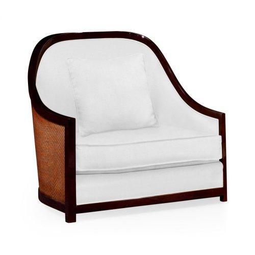 "44"" Sonokelling & Brown Rattan Sofa Chair, Upholstered in COM"
