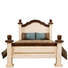Queen White/Walnut Don Carlos Bed