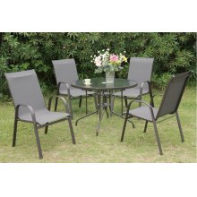 203 / Liz.p9- 5PC OUTDOOR PATIO TABLE SET [P50213(1)+P50114(4)]