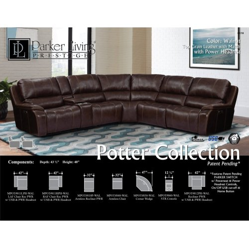 POTTER - WALNUT Power Armless Recliner