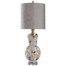 WHEATON TABLE LAMP  Distressed Opal Finish on Ceramic Body with Crystal Base  Hardback Shade  150