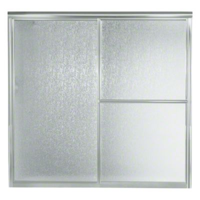 """Deluxe Sliding Bath Door - Height 56-1/4"""", Max. Opening 59-3/8"""" - Matte Silver with Rain Glass Texture"""