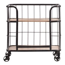 Industrial Wood & Metal Trolley Bar Cart