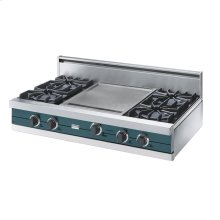 "Iridescent Blue 42"" Open Burner Rangetop - VGRT (42"" wide, four burners 18"" wide griddle/simmer plate)"
