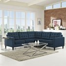 Empress 3 Piece Upholstered Fabric Sectional Sofa Set in Azure Product Image