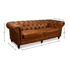 Tufted English Club Sofa, Vienna Brown
