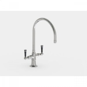 """Brushed Stainless - Single Hole 10"""" Swivel Spout with Black Ceramic Lever Product Image"""
