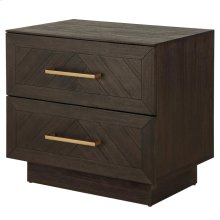 Wellington Herringbone Night Stand/Side Table 2 Drawers, Thames Dark Brown