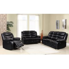 8055 Air Leather Black Loveseat