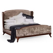 Cali King Louis XV Mahogany Bed, Upholstered in Truffle Velvet