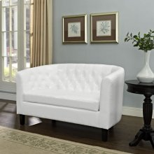 Prospect Upholstered Vinyl Loveseat in White