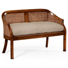 Walnut 2-Seater Salon Settee Cane Back Upholstered Seat