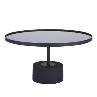 Samara KD Coffee Table Glass Top with Black Concrete Base, Mirror Black