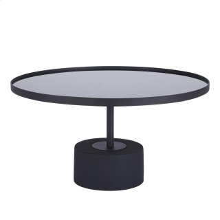 Samara KD Coffee Table Glass Top with Black Concrete Base, Mirror Black
