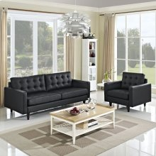 Empress Sofa and Armchair Set of 2 in Black