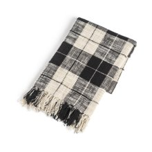 Black & Cream Plaid Slub Woven Throw