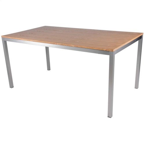 "Zevon Rect Dining Table 63"" Brushed Stainless Steel Legs, Natural"