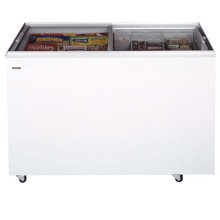 """Flat top commercially approved ice cream freezer with two sliding glass lids; 21"""" depth and 14 tub capacity"""