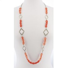 BTQ Burnished Gold and Orange Beaded Necklace