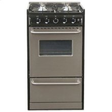 """Slide-in gas range in slim 20"""" width, with stainless steel doors and four sealed burners"""