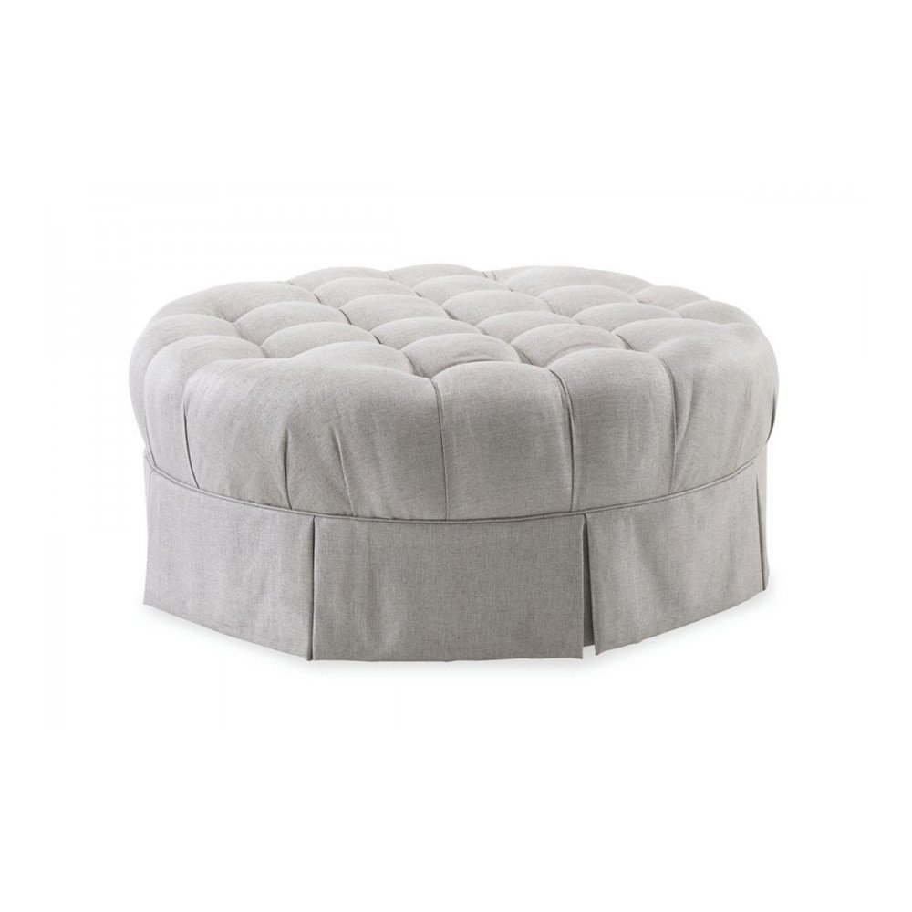 Ava Grey Round Tufted Top Ottoman