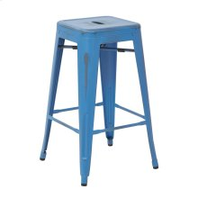 """Bristow 26"""" Antique Metal Barstool, Antique Royal Blue Finish, 4 Pack"""
