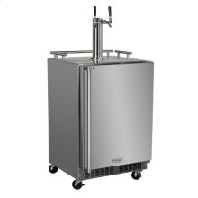 """Outdoor 24"""" Twin Tap Mobile Beer Dispenser with Stainless Steel Door - Solid Stainless Steel Door With Lock - Right Hinge"""