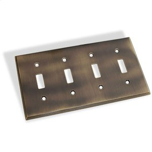 Quad Toggle Square Bevel Switch Plate - Antique Brass Product Image