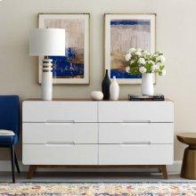 Origin Six-Drawer Wood Dresser or Display Stand in Walnut White