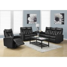 RECLINING - SOFA BLACK BONDED LEATHER