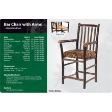 Hickory Bar Chair with Arms - Upholstered Seat