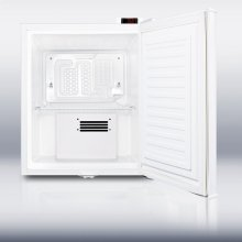 Compact auto defrost all-refrigerator with a digital thermostat, lock, internal fan, temperature alarm, and hospital grade cord