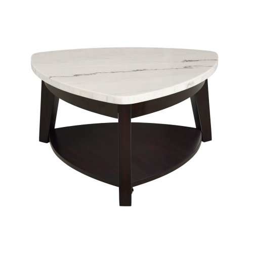 """Francis White Marble Top Triangle End Table 22""""x22""""x24"""""""