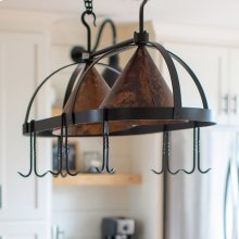 Dutch Oval Iron Lighted Pot Rack with Copper Shade