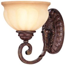 1 Lite Wall Lamp - Ant. Bronze/l. Amber Glass, Type A 60w