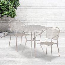 "Commercial Grade 28"" Square Light Gray Indoor-Outdoor Steel Patio Table Set with 2 Round Back Chairs"