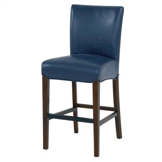 Milton Bonded Leather Counter Stool Wenge Legs, Vintage Blue