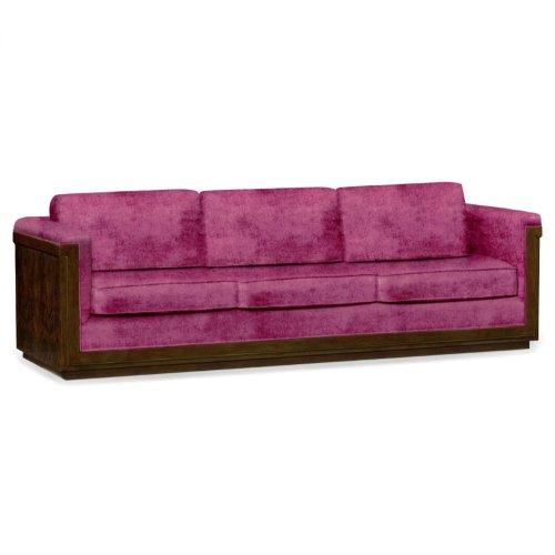 110'' Antique Mahogany Brown High Lustre Sofa, Upholstered in Fuschia Velvet