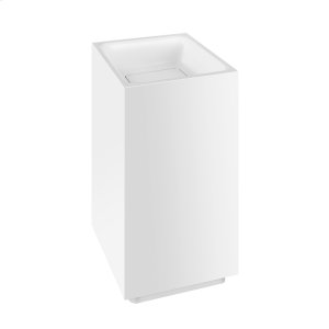 """Freestanding washbasin in Cristalplant® without overflow waste Matte white L 16-9/16"""" x W 16-9/16"""" x H 35-7/16"""" May be drilled on-site to fit for single or 3 hole faucet Wall drainage Grille-plug and syphon included CSA certified Please contact Gessi North America for freight terms Product Image"""
