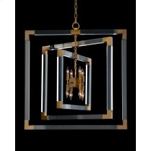 Acrylic and Brass Frame Eight-Light Chandelier