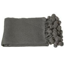 Charcoal Grey Throw with Pom-Poms