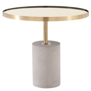 Andrea KD End Table Glass Top with Concrete Base, Mirror/ Brushed Gold