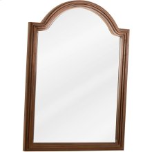 "26"" x 36"" Reed-frame mirror with beveled glass and Walnut finish."