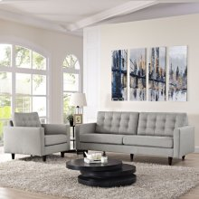 Empress Armchair and Sofa Set of 2 in Light Gray